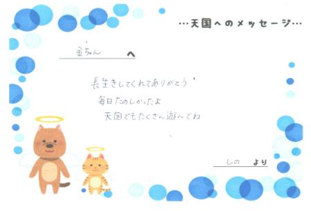 金太郎くんへのメッセージ