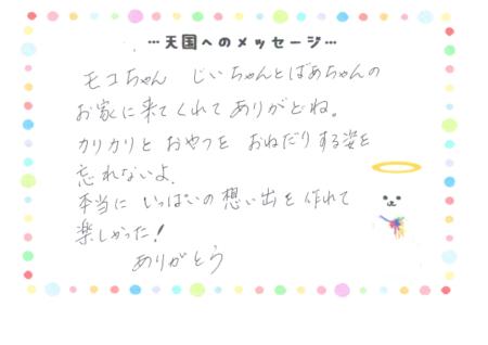 モコちゃんへのメッセージ