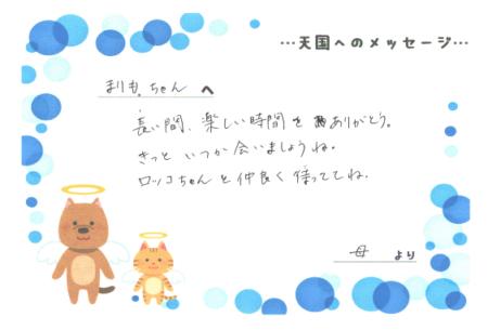 まりもちゃんへのメッセージ